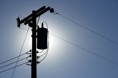 Silhouette Powerlines Royalty Free Stock Photos