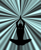 Silhouette practicing yoga in abstract background Stock Photography