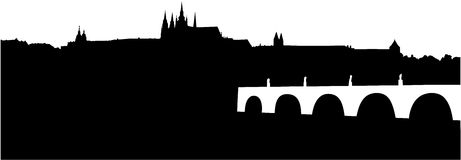 Silhouette of Prague Castle and Charles Bridge Royalty Free Stock Photography