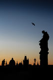 Silhouette of Prague - portrait format Royalty Free Stock Photography