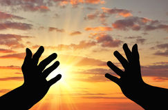 Silhouette of praying hands Royalty Free Stock Image