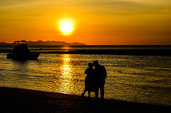 Silhouette pre wedding. At sunset Stock Image