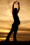 Silhouette pregnant dance Royalty Free Stock Images