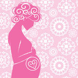 Silhouette of pregnant woman Royalty Free Stock Images