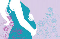 Silhouette of pregnant woman Stock Image