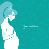Silhouette of pregnant woman Royalty Free Stock Image