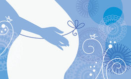 Silhouette of pregnant woman. In winter Royalty Free Stock Photography