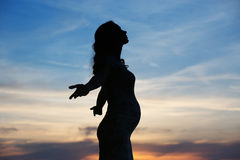 Silhouette of the pregnant woman Royalty Free Stock Image