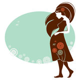 Silhouette of pregnant woman Royalty Free Stock Photos