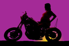 Silhouette pregnant woman side sit arms hips Royalty Free Stock Images