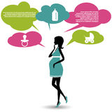 Silhouette of a pregnant woman with speech bubbles Stock Images