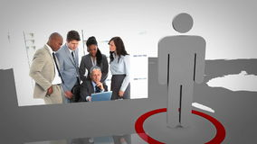 Silhouette presenting business people working Stock Photo