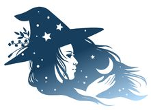Silhouette of pretty girl in halloween hat. Silhouette of a pretty witch with a flowing hair and a moon in her hand. Vector hand drawn illustration Royalty Free Stock Image