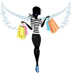 Silhouette of a Pretty Young Woman Angel with the. Purchase go to Shopping . Vector. Illustration Stock Photography