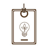 Silhouette price tag of light bulb with leaf inside Stock Photos