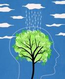 Silhouette principale avec l'arbre et la pluie Photographie stock
