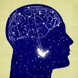 Silhouette principale avec le cerveau et l'oscillation Photo libre de droits