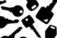 silhouette principale Diverses clés de serrure éclairées à contre-jour de maison et de ménage Photo stock