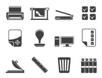 Silhouette Print industry Icons Royalty Free Stock Photography