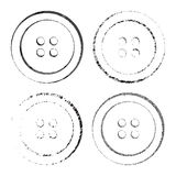 Silhouette prints or vector sewing buttons in black with different textures Stock Images