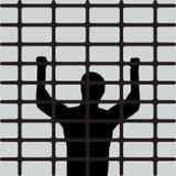 Silhouette of prisoner behind prison bars. Vector illustration. royalty free illustration