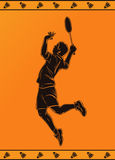 Silhouette of a Professional Badminton Player Stock Photo