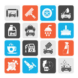 Silhouette Professional car wash objects and icons Stock Photos