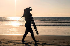 Silhouette Of Professional Woman Photographer Stock Photography