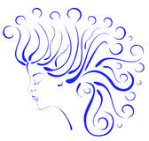 Silhouette profile beautiful woman with curly hair Royalty Free Stock Photo