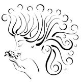 Silhouette profile beautiful woman with flower. A sketch digital illustration in black and white of a young woman's profile with long flowing hair and exotic stock illustration