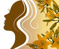 Silhouette profile of a beautiful woman with a lily Stock Photo