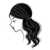 Silhouette profile of a cute lady`s head. The girl shows the female hairstyle braid on medium and long hair. Suitable for. Silhouette profile of a cute lady`s vector illustration