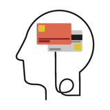 Silhouette profile human head with debit and credit cards. Illustration vector illustration