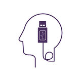 silhouette profile human head with usb device Stock Photos