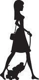 Lady Walking Puppy Silhouette Royalty Free Stock Photos