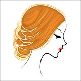 Silhouette of a profile of a sweet lady`s head. The girl shows a female hairstyle on medium and long hair. Suitable for logo,. Silhouette of a profile of a sweet stock illustration