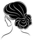 Silhouette of a profile of a sweet lady`s head. The girl shows a female hairstyle on medium and long hair. Suitable for logo,. Silhouette of a profile of a sweet vector illustration