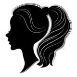 Silhouette of a profile of a sweet lady s head. A girl shows a female tail-hairstyle on long and medium hair. Suitable for logo,. Silhouette of a profile of a vector illustration