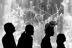 Silhouette profiles Stock Photos