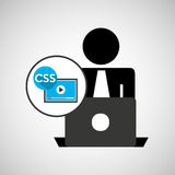 Silhouette programmer working laptop css player Stock Photo