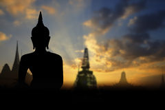 Silhouette public Buddha statue Royalty Free Stock Photos