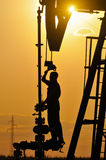 Silhouette Pump Jack Royalty Free Stock Photography