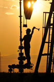 Silhouette Pump Jack Royalty Free Stock Photos