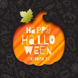 Silhouette of a pumpkin cutout in paper on a background with linear halloween signs and symbols. Stock Photography