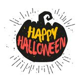 Silhouette of pumpkin with lettering text Happy Halloween. Vector sticker Stock Images