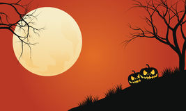Silhouette of pumpkins in hills halloween backgrounds Royalty Free Stock Photography