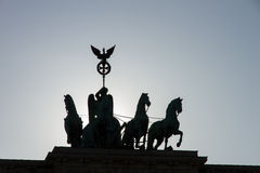 Silhouette of the quadriga on Brandenburg Gate Stock Images