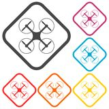 Silhouette quadrocopter a top view icons set Stock Image