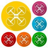 Silhouette quadrocopter a top view icons set Royalty Free Stock Photo