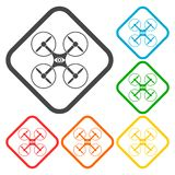 Silhouette quadrocopter a top view icons set Royalty Free Stock Image